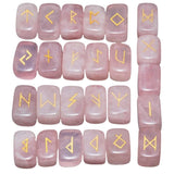 Pink Rose Quartz Engraved Rune Stone Set Divination Witchcraft Pagan Occult Psychic Reading Nordic Alphabet | Arcane Trail
