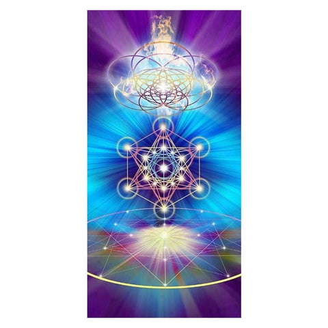 Merkaba Sacred Geometry Bamboo Bath Towel Beach Spiritual Metatrons Cube Flower Of Life Pagan Esoteric by Arcane Trail