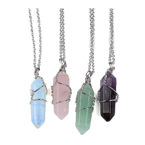Single Wrapped Crystal Pendant - Necklace