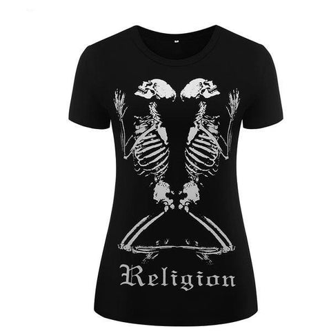 skeleton religion t-shirt tee top praying on knees gothic fashion shirt by arcane trail