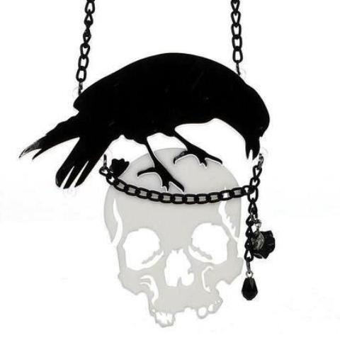 Black Crow Raven Skull Pendant necklace Statement Jewelry Creepy Spooky Goth Accessories