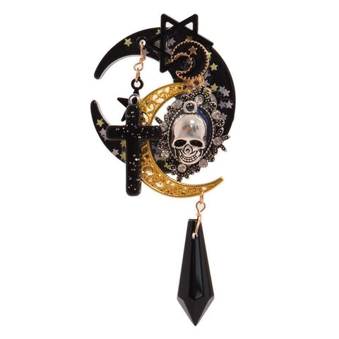 steampunk gothic lolita hairclip barette lobster claw hair clip accessory skull moon pagan wiccan witchy witchcraft  harajuku japan fashion by kawaii babe