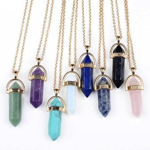 Suspended Crystal Wand Pendant - Necklace