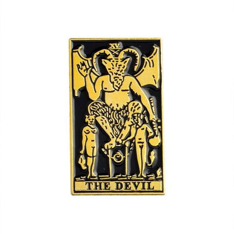 The Devil Tarot Card Enamel Pin Metal Evil 666 Witch Witchcraft Wicca Pagan Occult Lapel Brooch by Arcane Trail