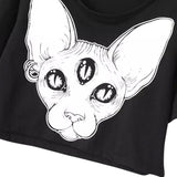 third eye cyclops siamese cat t-shirt tee belly shirt crop top cropped black gothic fashion horror by arcane trail