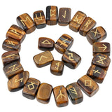 Tiger's Eye Crystal Engraved Rune Stone Set Divination Witchcraft Pagan Occult Psychic Reading Nordic Alphabet | Arcane Trail