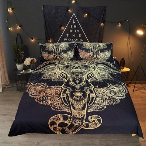 Black Tribal Elephant Mandala Bedroom Set Duvet Cover Bedspread Sheets Pillowcase Spiritual Reiki Chakra Healing Hindu Ganesha by Arcane Trail