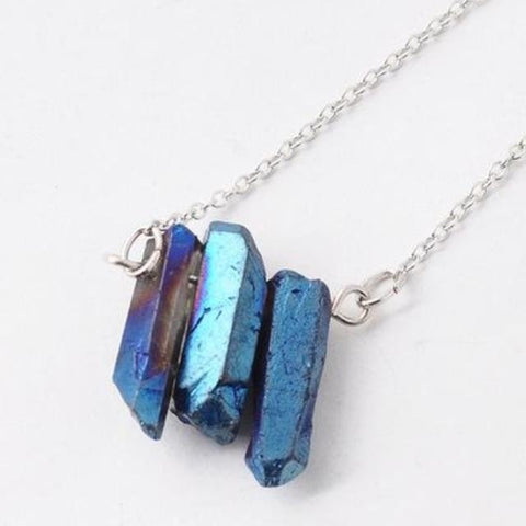 Triple Electric Blue Quartz Necklace - Necklace