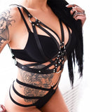 Triple O-Ring Chest Harness Bondage BDSM Kink Fetish Goth Fashion Vegan Leather