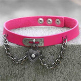 Hot Pink Victorian Goth Locket Collar Choker Necklace Vegan Leather Adjustable Lock & Key