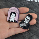 Wednesday Addam's Family Enamel Pin Brooch Lapel Set Gothic Goth Fashion Skeleton Creepy Cute Horror by Arcane Trail