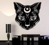 Creepy Wicked Black Cat Witch Wall Decal Sticker Art Removable Witchcraft Goth Home Decor Decoration by Arcane Trail