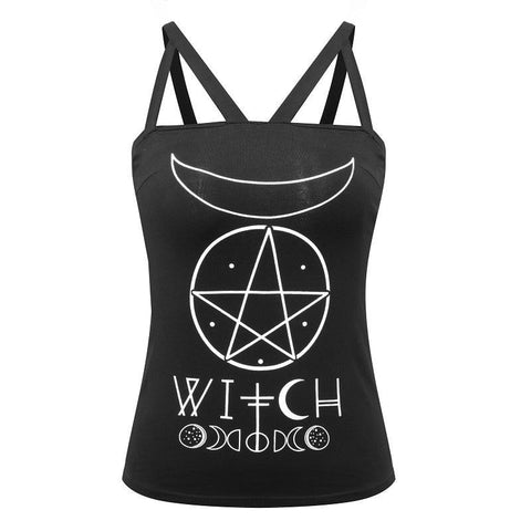 Witch Symbolism Tank Top Shirt Harness Strappy Occult Goth Fashion Moon Phases by Arcane Trail