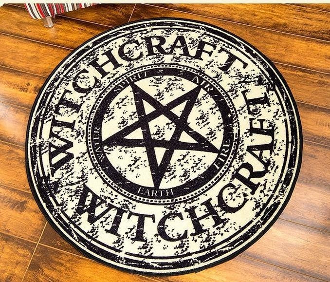Witchcraft Pentagram Area Rug Floor Mat Witch Decor