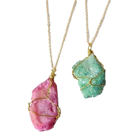 Gold Wrapped Raw Druzy Quarts Crystal Pendant necklace Spiritual Chakra Reiki Healing Jewelry by Arcane Trail