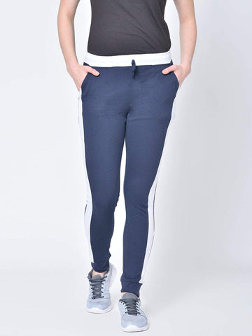 Hapuka Women's Navy Cotton Solid Track Pant