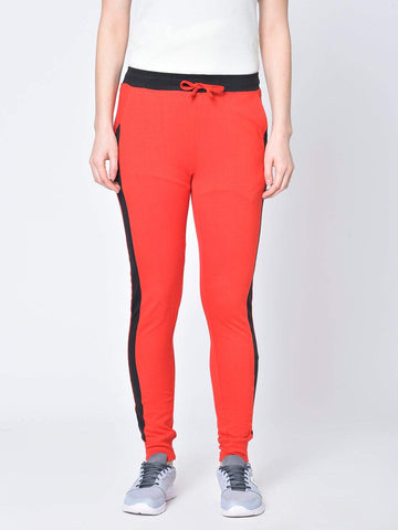 Hapuka Women's Red Cotton Solid Track Pant