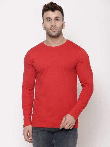 Hapuka Men's Slim Fit  Solid  Red Cotton  T Shirt