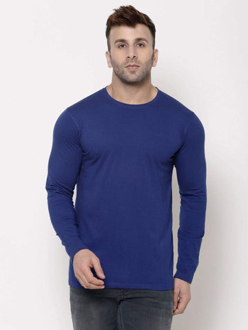 Hapuka Men's Slim Fit  Solid  Royal Blue Cotton  T Shirt