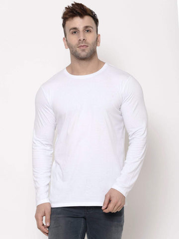 Hapuka Men's Slim Fit  Solid  White Cotton  T Shirt