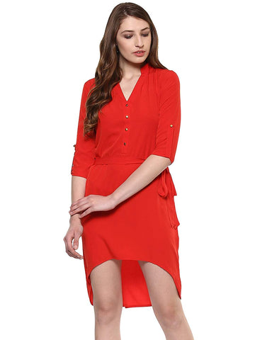 Hapuka Red Polyester Solid Dress