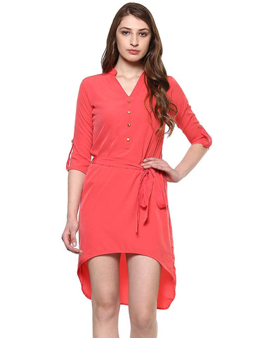 Hapuka Pink Polyester Solid Dress