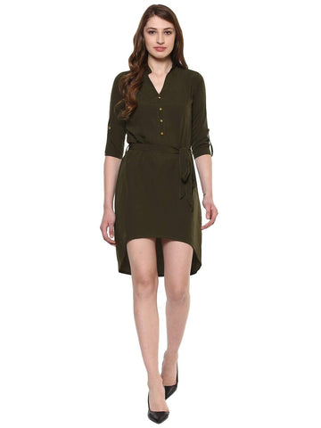 Hapuka Olive Polyester Solid Dress