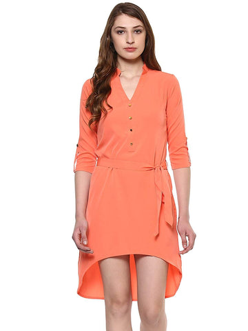 Hapuka Coral Polyester Solid Dress