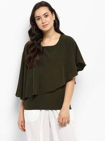 Hapuka Olive Polyester Solid Top