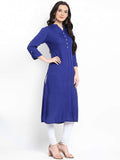 Hapuka Royal Blue Rayon Solid Kurti
