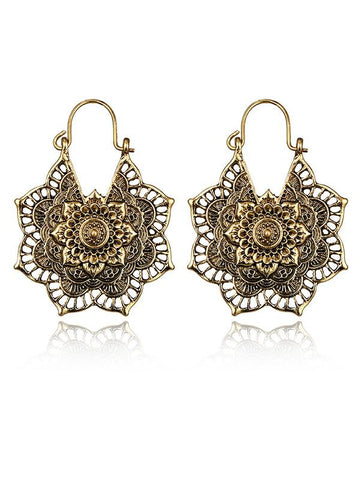 Vintage Hollow Alloy Flower Earring Accessories GOLD FREE SIZE