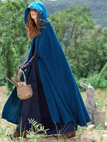 Blue Hooded Cloak Trench Cape Outwear BLUE XL