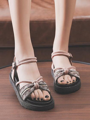 Image of Pretty Beach Flats Sandals BLACK 35