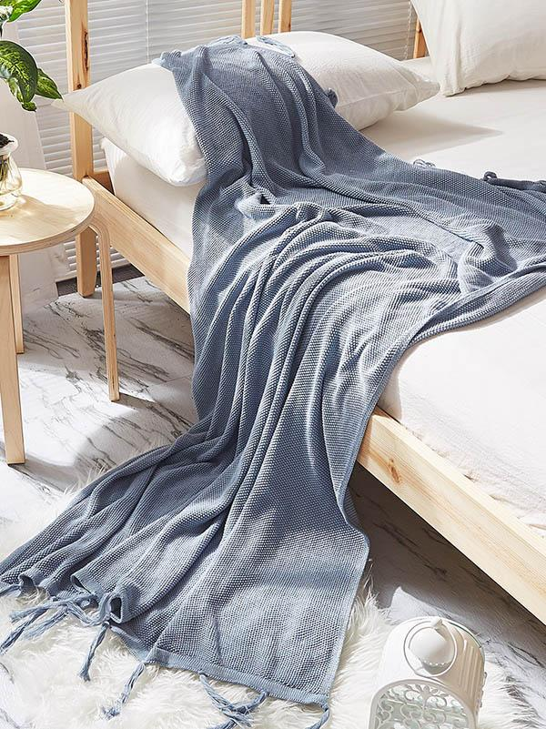 Leisure Tasseled Knitted Blanket GRAY FREE SIZE