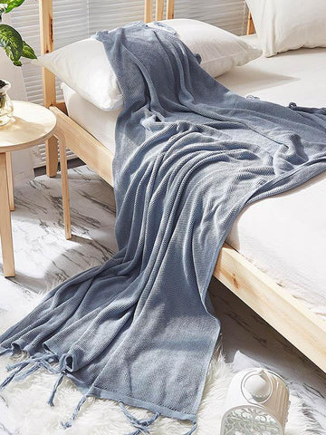 Image of Leisure Tasseled Knitted Blanket GRAY FREE SIZE