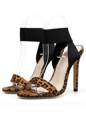 Image of Sexy Leopard Peep Toe Super High Heels BLACK 38