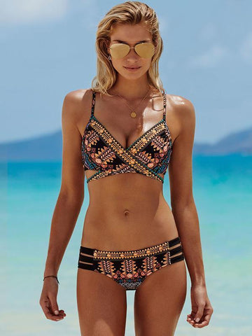 Bohemia Printed Two-Pieces Bikini Swimwear L