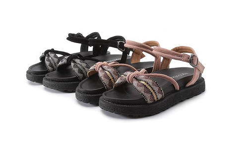 Image of Pretty Beach Flats Sandals BLACK 39