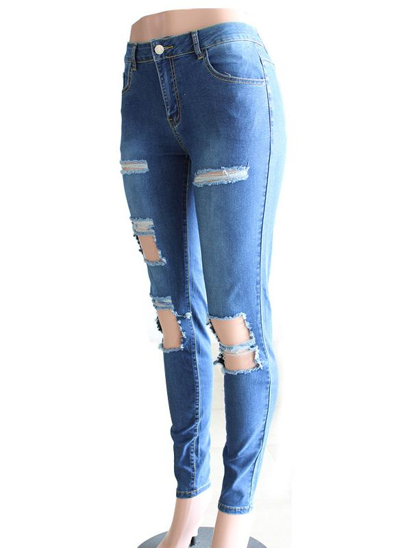 Street Pants Big Holes Torn Casual Trousers Skinny Pencil Pants SAME AS PICTURE XL