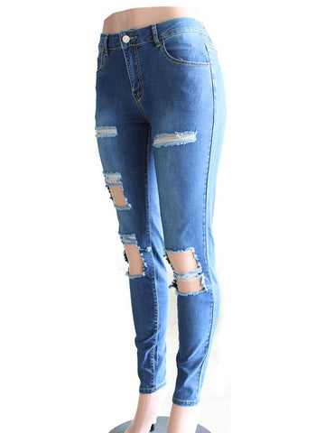 Image of Street Pants Big Holes Torn Casual Trousers Skinny Pencil Pants SAME AS PICTURE XL
