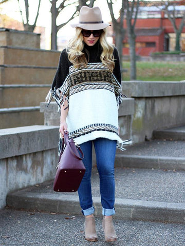 Image of Loose Striped Long Sleeves Sweater Tops BLACK L