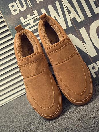 Warm Solid Color Loafers BLACK 40