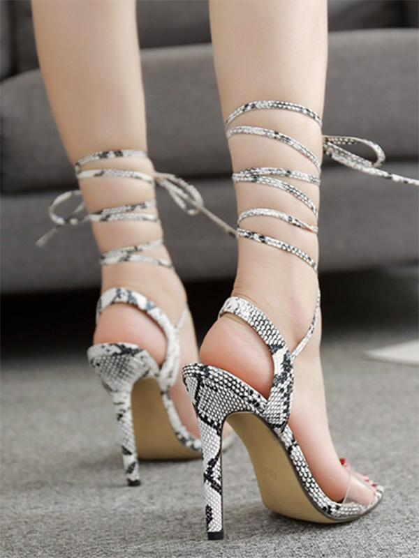 Peep Toe Snake Pattern Thin Heels SAME AS PICTURE 40