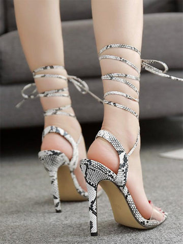 Image of Peep Toe Snake Pattern Thin Heels SAME AS PICTURE 40