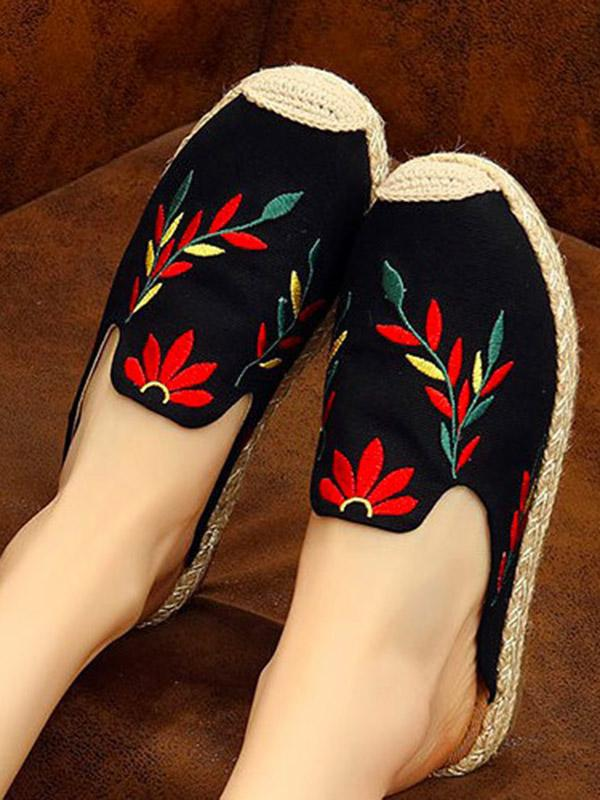 Embroidered Beach Fisherman Shoes BLACK 37