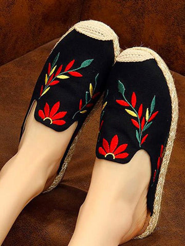 Image of Embroidered Beach Fisherman Shoes BLACK 37