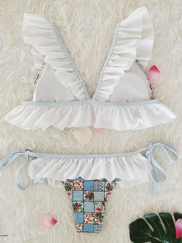 Image of Falbala Ruffled Tied Bikinis Swimwear WHITE L