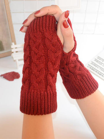 Threaded Half Finger Knit Gloves LIGHT GRAY FREE SIZE