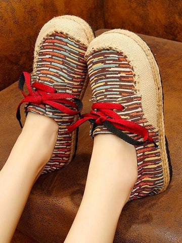 Image of Canvas Lace-up Flat Shoes CREAM 35