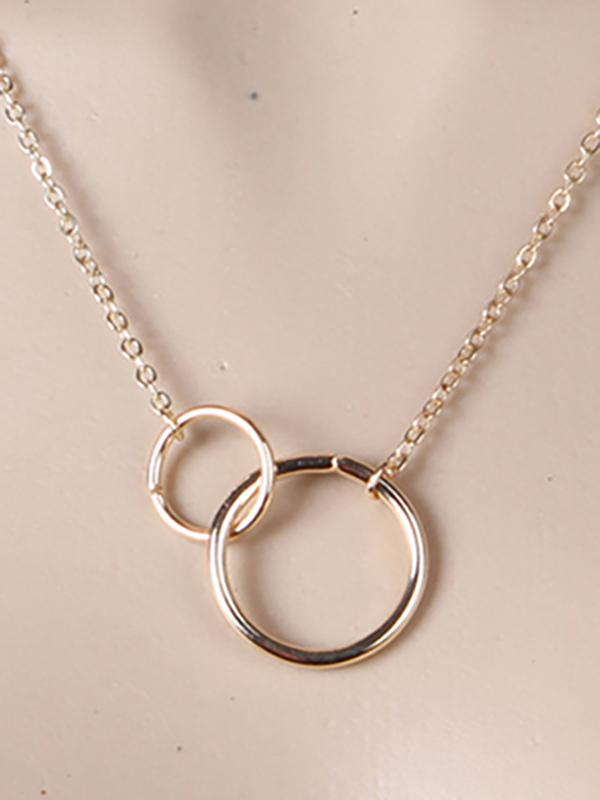 Simple Double Ring Necklace GOLD FREE SIZE